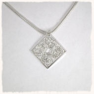 Silver diamond filigree pendant