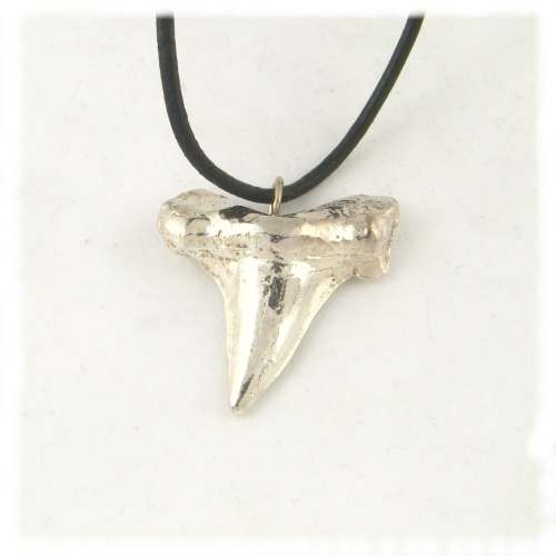 Silver large shark tooth pendant