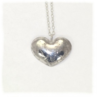 Embossed sterling silver heart pendant