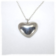 Hammered sterling silver heart pendant